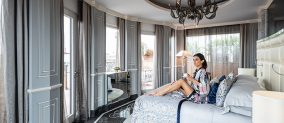 Master bedroom with view of the Roman Penthouse Suite of the  Baglioni Hotel Regina in Rome