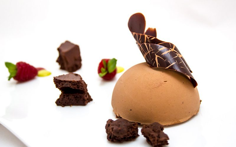 70% black chocolate, Amedei selection in three consistencies: semifreddo, crumble and puffed chocolate