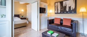 Suite Bedroom overlooking the Basilica of Santa Croce from the Relais Santa Croce in Florence
